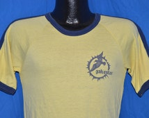 70s Galveston Texas Yellow Blue Striped Vintage Jersey Ringer t-shirt Medium