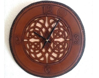 Handmade Leather Wall Clock With Celtic Motive