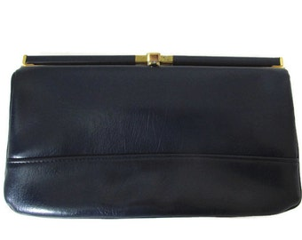 50s large vintage navy clutch bag, gold tone metal, CLARKS SHOES, made in England, quality clutch, faux leather