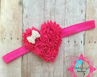 Pink Heart Headband- Pink  Valentine Headband-Valentine's Day Headband-Valentines Bow-1ST Valentine's Day Headband-Hot Pink Valentines day