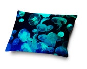 Blue Moon Jellyfish - Pet Bed, Ocean Nautical Style Pet Pillow Bed, Coral Fleece Dog Cat Accessory Bedding Home Decor. In Small Medium Large