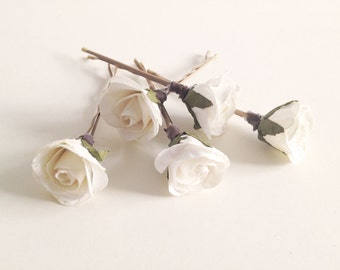 Bridal hair clips, Ivory Rose pins, Wedding flower pins, Cream rose bobby pins - set of five