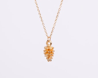 Gold Plated Necklace Pine Cone Gold Plated Filigree Golden Necklace
