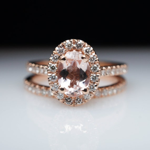 oval morganite engagement ring rose gold engagement ring