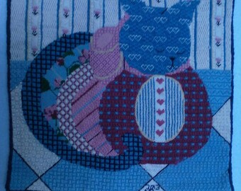 Needle Pointed Cat Wall Hanging