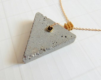 Concrete Triangle Necklace, Geometric Concrete Jewelry