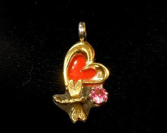 Heart and Dragonfly Pendant