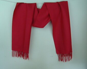 Vintage Jacobson's red scarf lambswool Made in W Germany