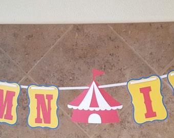 Carnival Banner, Carnival Birthday, Circus Banner, Circus Birthday, Big Top Birthday, Carnival Happy Birthday Banner, Carnival Name Banner