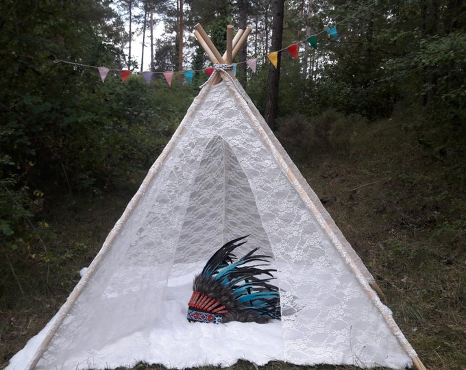 Big Teepee Tent White Lacy . Tipi Tent. POLES NOT INCLUDED.