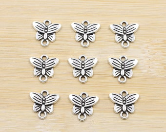 12 silver buttefly connector charms, buttefly charms, 14 x 16mm, woodland, nature, Ships from USA