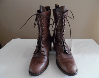 Vintage 1980s or Early 1990s Brown Distressed Leather Lace Up Granny Boots by Charles David
