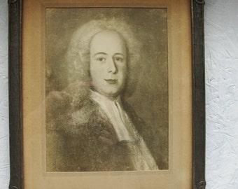 Sepia Photograph of 1700's Old Portrait,  Goodrich Studio Henderson N.C. Ray Wilkes Goodrich