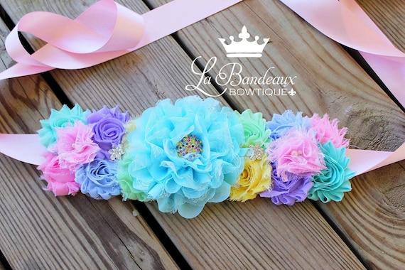 Rainbow Pastel Blooms Spring Maternity Sash