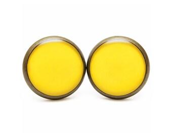 Freesia Stud Earrings Yellow Freesia Jewelry Spring Color 2014 Freesia Color Pastel Earrings Bright Yellow Pantone Spring Stud Earrings