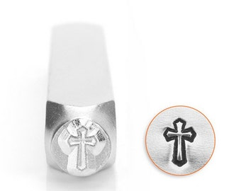 Cross metal design stamp , cross outline stamp , 6mm cross punch SC1518-D-6mm