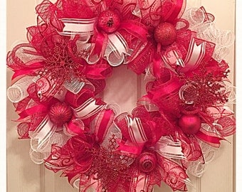 Red and White Snowflake Christmas Deco Mesh Wreath/Christmas Wreath/Red and White Snowflake Christmas Wreath/Snowflake Wreath