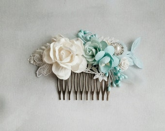 Bridal hair comb, Bridal hair clip, Blue Wedding headpiece, Hair clip, Wedding hair clip, Blue, White Lace,  Vintage wedding