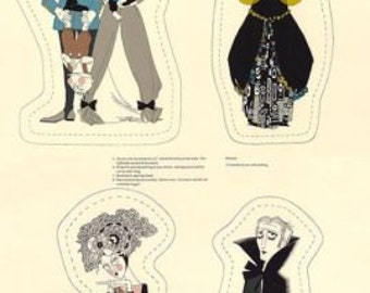 "The Ghastlies -Cut Out  Doll Project - Alexander Henry Fabric Panel Novelty 24x44"" Free Post"