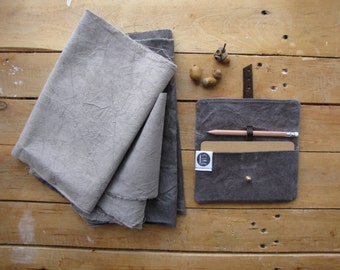 Black Field-day notebook and pencil pouch - natural dye - waxed canvas notebook cover, Moleskine journal included