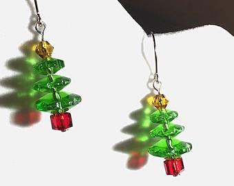 Christmas tree earrings, crystal tree earrings, holiday earrings, christmas tree jewelry, holiday jewelry, tree jewelry, holiday gifts