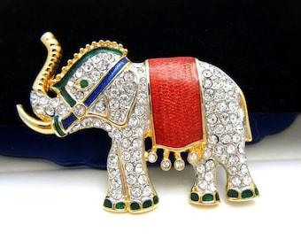 Adorable Vintage Elephant Figural Brooch Pave Set Rhinestones Enamel