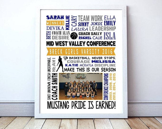 "Basketball Team Poster - Personalized ""New Season"" or ""End Of Season"" Poster With Team Picture"