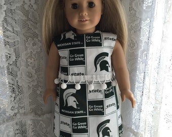 Michigan State Spartans dress for 18 inch dolls