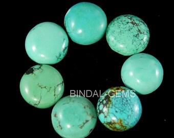 10 Pieces Wholesale Lot Natural Turquoise Round Shape Gemstone Flatback Cabochon
