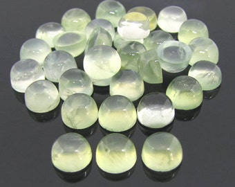 25 Pieces Lot Natural Prehnite Round Shape Gemstone Smooth Polished Cabochon