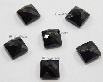 25 Pieces Wholesale Lot Black Onyx Square Shape Checker Cut Gemstone for Jewelry