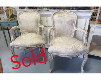 SOLD French Shabby Chic Upholstered Bergere Chair ( Free Shipping)