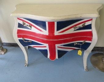 Union Jack British Flag Bombay Dresser  Hand Painted.
