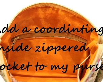 Add a coordinating inside zippered pocket to any wristlet or purse in shop.