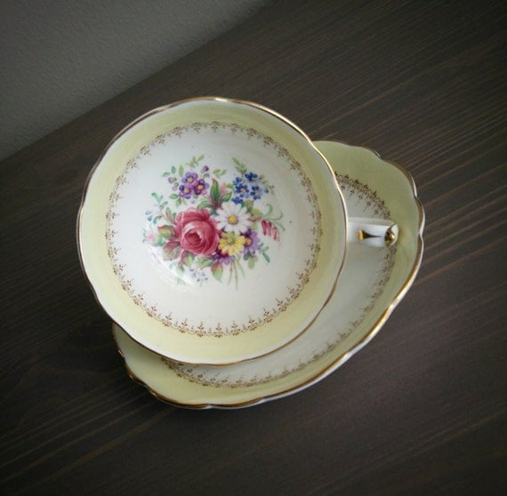 Antique Paragon White And Yellow Floral Tea Cup And Saucer