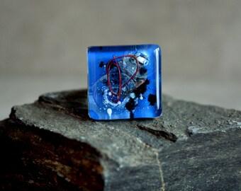 Cobalt ring - Fused glass ring - Blue ring - Adjustable ring - Fused glass jewelry - Modern ring - Cobalt blue glass ring - Fused jewelry