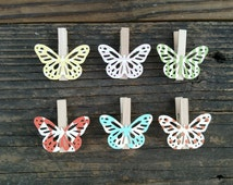 12 Polka Dot Stripe Butterfly Clothes Pins Baby Shower Spring Party Favor Clips Nursery Decor Blue Pink Yellow Green Orange