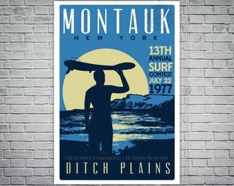 Montauk Ditch Plains Retro Vintage Surf Screen Print Poster