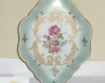 KPM East Germany #3026 16 Porcelain Pin Coin Trinket Dish Green Gold Pink Rose