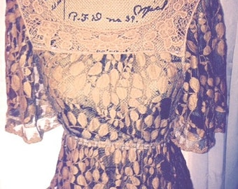 Free Shipping US. Cafe Au Lait Lace Top, Vintage Lace Blouse, Blouse with Flutter Sleeves, Holiday Blouse, Sheer Boho Lace top, Boho Fashion