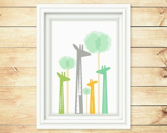 Children Giraffe Wall Art - Giraffe Wall Print - Kid Print - Nursery  Wall Print-  Nursery Giraffe print- Nursery Room Decor - 8x10