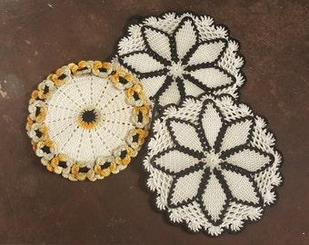 Black White Gold Vintage Kitchen Retro Kitchen Hot Pads Hand Crochet