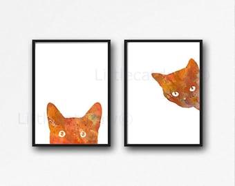 Orange Ginger Cat Print Set Watercolor Prints Cat Art Illustration Cat Lover Gift Orange Minimalist Home Decor 2 Art Prints Unframed