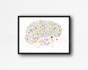 Fluffy Colorful Hedgehog Print Watercolor Painting Art Print Illustration Art Drawing Watercolor Print Watercolor Art