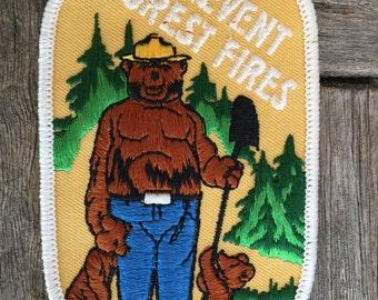 Smokey the Bear Prevent Forest Fires Vintage Souvenir Patch