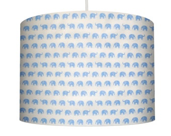 Elephant Print, Blue on White, Cotton Fabric Drum Lampshade. Childs Bedroom, Boy's Bedroom, Nursery