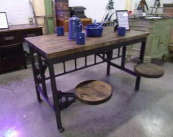 Early 20th Century Fully Functional Four Stool Prison Table