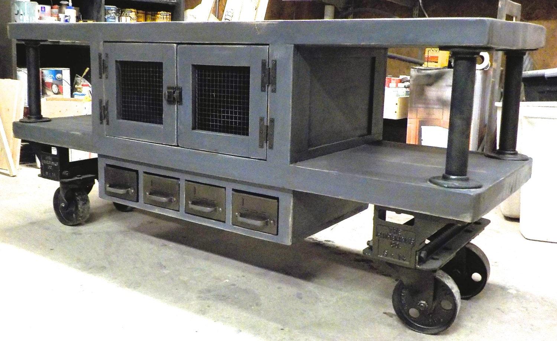 Steampunk industrial media console cart