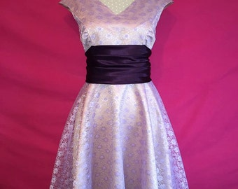 Sew Luxurious...Duchesse Satin and Lace Fifties Dress with Sash Made to Order