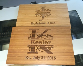 Personalized Bamboo Cutting Board  -  Housewarming/Wedding/Closing gift - Real Estate Closing Gift